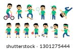set of kid street and sport... | Shutterstock . vector #1301275444