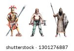 Ancient warriors. Greek Hoplit, Assyrian and Frankish warrior. Historical illustration.