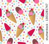 ice cream seamless pattern.... | Shutterstock .eps vector #1301281747