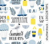 seamless summer pattern with... | Shutterstock .eps vector #1301287891