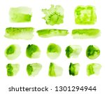 green watercolor strokes and... | Shutterstock . vector #1301294944