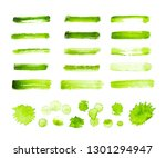 green watercolor strokes and... | Shutterstock . vector #1301294947