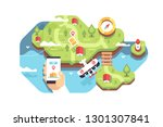 mobile smart phone with app... | Shutterstock .eps vector #1301307841