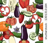 seamless pattern with tomatoes  ... | Shutterstock .eps vector #1301313184