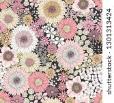 seamless floral pattern with... | Shutterstock .eps vector #1301313424
