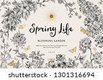 spring life. vintage vector... | Shutterstock .eps vector #1301316694