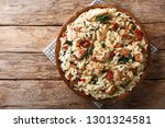 italian pasta orzo with grilled ... | Shutterstock . vector #1301324581