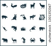 fauna icons set with goat  duck ... | Shutterstock .eps vector #1301352067