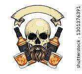 sketch  barman skull | Shutterstock .eps vector #1301376391