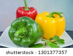 beautiful sweet peppers and... | Shutterstock . vector #1301377357