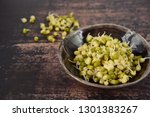 bowl of mung bean sprouts on... | Shutterstock . vector #1301383267