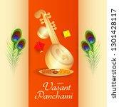 illustration of saraswati puja ... | Shutterstock .eps vector #1301428117