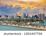 heavy traffic on miami highway... | Shutterstock . vector #1301447704
