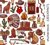 colored wild west pattern.... | Shutterstock .eps vector #1301459671