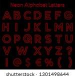 neon alphabet letters vector art | Shutterstock .eps vector #1301498644