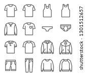 clothes vector line icon set.... | Shutterstock .eps vector #1301512657