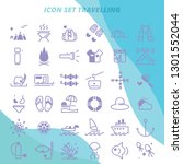 icon set traelling holiday with ...