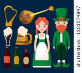 couple irish with set icons | Shutterstock .eps vector #1301574847
