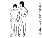 young couple avatars characters | Shutterstock .eps vector #1301588341