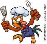 angry rooster chef  running and ... | Shutterstock .eps vector #1301617804