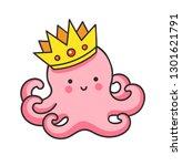 cute pink octopus in a golden... | Shutterstock .eps vector #1301621791
