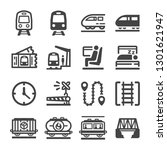 train icon set vector and... | Shutterstock .eps vector #1301621947
