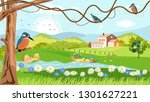 panorama of spring village with ... | Shutterstock .eps vector #1301627221
