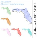florida sketchy us state.... | Shutterstock .eps vector #1301643301