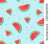 watermelon slices vector... | Shutterstock .eps vector #1301665054