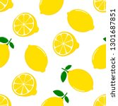 lemon slices seamless pattern... | Shutterstock .eps vector #1301687851