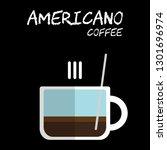 flat style hot americano coffee ... | Shutterstock .eps vector #1301696974
