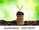 golden coins in soil with young ... | Shutterstock . vector #130178201