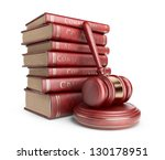 Wooden gavel with books. LAW concept. 3D Icon isolated - stock photo