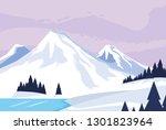 snowscape nature scene icon | Shutterstock .eps vector #1301823964