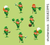 set comic leprechaun character | Shutterstock .eps vector #1301823991