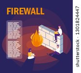 mini people with firewall and... | Shutterstock .eps vector #1301824447