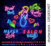 collection neon signs vector.... | Shutterstock .eps vector #1301831407