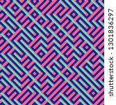 seamless colorful maze pattern | Shutterstock . vector #1301836297