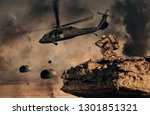helicopter and forces in... | Shutterstock . vector #1301851321