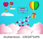 valentine's day balloons in a... | Shutterstock .eps vector #1301871694