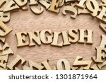 word english made with wooden... | Shutterstock . vector #1301871964