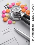 prescription or rx form with... | Shutterstock . vector #1301871994