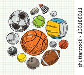 freehand drawing sport balls.... | Shutterstock .eps vector #130188011