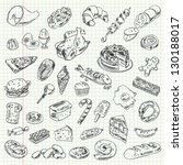 freehand drawing high calorie... | Shutterstock .eps vector #130188017