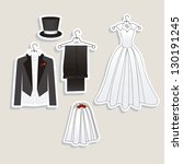 illustration of wedding icons... | Shutterstock .eps vector #130191245