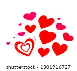 red and pink hearts on white... | Shutterstock . vector #1301916727