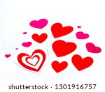 red and pink hearts on white... | Shutterstock . vector #1301916757