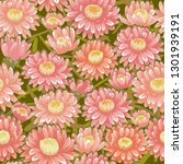 seamless red chrysanthemum... | Shutterstock . vector #1301939191