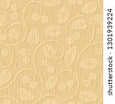seamless cherry wood carved... | Shutterstock . vector #1301939224
