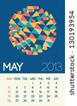 stylish may 2013 calendar with... | Shutterstock .eps vector #130193954